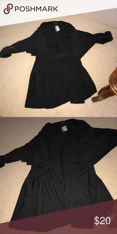 Selling this Forever 21 waterfall black duster on Poshmark! My username is: makeupmelissa. #shopmycloset #poshmark #fashion #shopping #style #forsale #Forever 21 #Jackets & Blazers