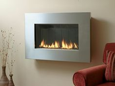Fire Ribbon Direct Vent Slim Fireplace from Spark Modern Fires Wood Fireplace, Fireplaces, South San Francisco, Gas Logs, Interior Walls, Home Living Room, Hearth, Glass Door, Contemporary