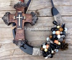 © Cross & Beads. Decorative Horseshoe. Western Home Decor by HorseShoeFever. Country, Rustic, Modern, Farm, Ranch, Cowgirl, Cowboy, Horses, Rodeo, Wall Art, Birthday, Graduation, Christmas, Gift Idea, Present Ideas, Religious, God, Cross, Horse