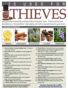 25 Uses of Young Living Thieves oil. I adore this stuff. :) To order any young living product pleasr contact me Thieves Essential Oil, Lemon Essential Oils, Natural Essential Oils, Essential Oil Blends, Thieves Oil Uses, Thieves Oil Recipe, Thieves Spray, Thieves Cleaner, Edens Garden Essential Oils
