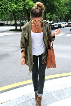 Everyday Chic- Army green cargo jacket, white tee and jeans with leopard booties