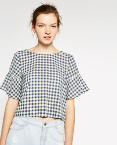 Image 4 of TOP WITH BACK FRILL from Zara Zara Tops, Casual Outfits, Fashion Outfits, Womens Fashion, Fashion Trends, Nice Dresses, Summer Dresses, Sewing Clothes, Designer Dresses