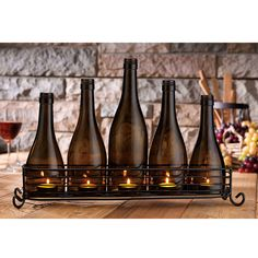 VINO 5 Wine Bottle in Cradle Votive Candle Set - Noccasion Gifts - Another great gift. Empty Wine Bottles, Wine Bottle Corks, Diy Bottle, Wine Bottle Crafts, Wine Bottle Candle Holder, Candle Holders, Candle Stand, Candle Set, Diy Luminaire