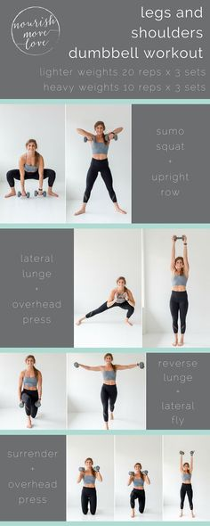 each exercise requires total body engagement, but the workout is designed to emphasize strength training in the legs and shoulders. Looking for a Permanent Remedy for Bow Legs - Without the Need for Surgery? Total Body, Body Sculpting Workouts, Bow Legged Correction, Dumbbell Workout, Emom Workout, Dumbbell Exercises, Sweat It Out, Thigh Exercises, Shoulder Workout