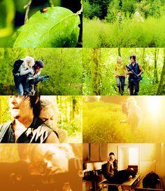 """""""Eles não são personagens que você normalmente vê juntos como parceiros. Eles estão presos um ao outro. Este episódio começa com Daryl em um lugar escuro e ele não quer ir e ele está rosnando para Beth o tempo todo, mas ele termina com uma nota positiva."""" - Norman Reedus"""