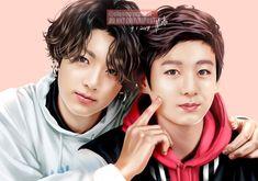 Present Jungkook meet the Past Jungkook.they look like father and son, lol😂 Foto Jungkook, Kookie Bts, Jungkook Cute, Bts Taehyung, Bts Bangtan Boy, Jung Kook, Fanart Bts, Jungkook Fanart, K Pop