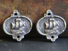 Rustic Ship Charms Handmade Jewelry Elements No. 407C by Inviciti handmade artisan jewelry - jewellery - etsy - jewelry making supplies - crafts - womens fashion - beading - beads - charms for necklaces, bracelets, and earrings