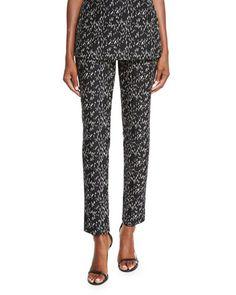 LELA ROSE Caroline Jacquard Straight-Leg Pants, Black/Ivory. #lelarose #cloth #