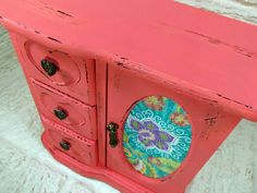 Coral Peach and Bright Floral Chest of Drawers Trinket Jewelry Box