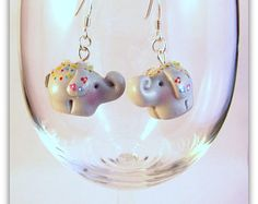 Super cute handmade polymer clay Indian Festival Elephant Earrings on a sterling silver fish hook findings