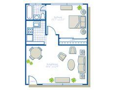 floor plan under 500 sq ft Standard Floor Plan One Bedroom