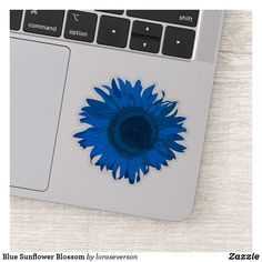 Blue Sunflower Blossom Sticker This cheerful Blue Sunflower Contour Sticker will brighten up your laptop computer or water bottle. This cute cutout sticker features a digitally enhanced floral photograph of a bright blue garden sunflower blossom. Perfect for a flower lover, gardener or florist. #stickers #sunflowers #sunflowerstickers Sunflower Gifts, Farewell Gifts, Blue Garden, Vinyl Sheets, Personalized Stickers, Decorated Water Bottles, White Ink, Business Logo, Cute Stickers