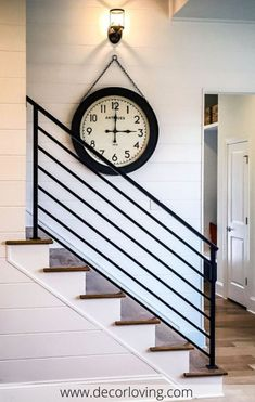 The Next Level: 14 Stair Railings to Elevate Your Home Design : Fascinating stair railing examples to refresh your home Stairway Railing Ideas, Indoor Stair Railing, Cable Stair Railing, Exterior Stair Railing, Modern Stair Railing, Wrought Iron Stair Railing, Stair Railing Design, Staircase Railings, Modern Stairs