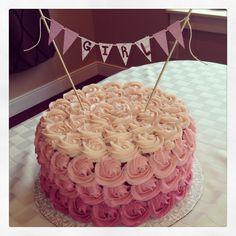 Baby Shower Cake. Pink Rosettes. Red Velvet. Cheesecake.
