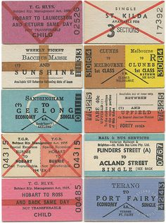 TROYLAND TICKET TUESDAYS: AUSTRALIA | Up with vintage train tickets from down under, circa '70s.