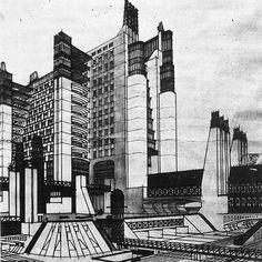 Dieselpunk: 1914, Antonio Sant'Elia, futurist building