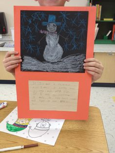 """3rd Grade Art Project with Writing Prompt: 1. Read Snowmen at Night. 2. Have students decide what they would do at night if they were a Snowmen (ex: Wild Water West). 3. Students draw the snowmen. 4. Students write about what the snowmen does at night. 5. Glue pictures to 12x18"""" construction paper with name and room number on front. 3rd Grade Writing, 3rd Grade Art, Grade 3, Construction Paper Projects, Snowmen At Night, Wild Waters, Student Drawing, Winter Wonder, Winter Art"""