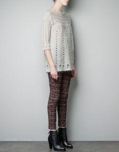 透かし編み縄編みセーター