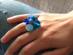 blue shadows lampwork glass adjustable ring by amabito on Etsy, €20.00