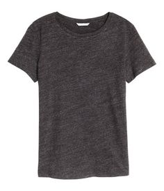 Dark gray melange. Crew-neck T-shirt in soft cotton jersey with a round neck and short sleeves.