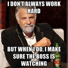 The Most Interesting Man In The World - I DON'T ALWAYS WORK HARD but when i do, i make sure the boss is watching