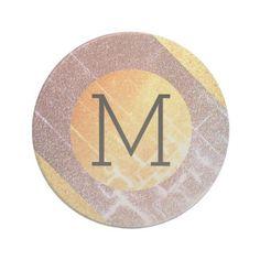 Elegant Faux Pink&Gold Glitter Craquelure Monogram Drink Coaster - glitter glamour brilliance sparkle design idea diy elegant