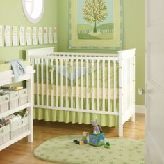 Neutral nursery colours: celery green, muted yellow.