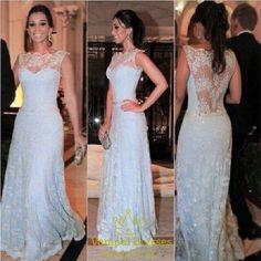 vampal.co.uk Offers High Quality Light Blue Sheer Back Illusion Neckline Prom…