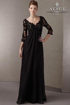 @Tabitha Elegant Black Evening Gown with Long Lace Sleeves 29599 by Jean de Lys