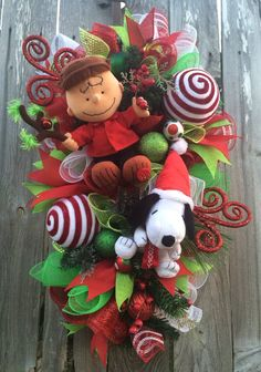 Snoopy Christmas Wreath, Charlie Brown Christmas Wreath, Christmas Wreath…