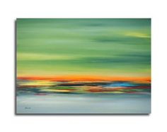Abstract landscape oil painting emerald by Painting4YourSoul