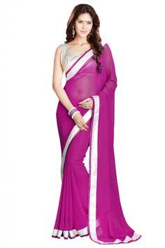Georgette Party Wear Designer Saree in Magenta and White Colour