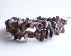 Chip Gemstone Wrap Bracelet Brick Coloured Stone by NiikNakks