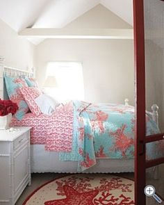 Aqua and coral bedding. Cute for a girl's bedroom in the beach house Coral And Turquoise Bedding, Coral Bedding, Aqua, Turquoise Bedrooms, Coral Rug, Dream Bedroom, Girls Bedroom, Bedroom Decor, Bedroom Ideas