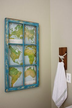 Old maps and rustic window frame. even without the maps - a few rustic window frames would be so beautiful in my living room! Map Crafts, Diy And Crafts, Rustic Window Frame, Framed Maps, Old Windows, Recycled Windows, Vintage Windows, Old Maps, We Are The World
