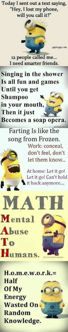 Everyone loves minion, so what is better then minions with a funny attitude? Here we have 50 funny minion quotes all with a fun and sarcastic attitude that will have you laughing out loud. These minion quotes are. Funny Minion Pictures, Funny Minion Memes, Crazy Funny Memes, Minions Quotes, Funny Puns, Really Funny Memes, Funny Love, Funny Relatable Memes, Funny Facts
