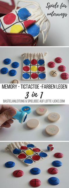 DIY für Kinder gegen Langeweile unterwegs: 3 Spiele in einem (Memory, Tic Tac Toe und Farben legen) alle in einem Stoff-Säckchen und somit super passend für die Handtasche