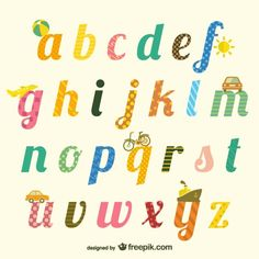 Cute alphabet typography Free Vector