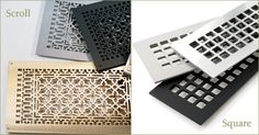 Metal Grilles Scroll and Square Design, Home Decor, Staging, A/C vent, HVAC Vent, Brass,