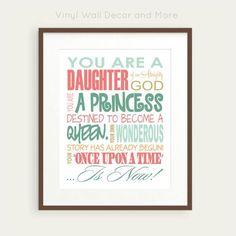 Daughter of God Princess Print by VinylWallDecorandMor on Etsy, $15.00 Girls Bathroom
