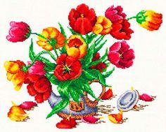 Набор Чудесная игла 40-30 Букет из тюльпанов 32х26 см