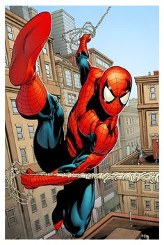 Spider-Man saving the day. Drawn by Robert Atkins, colours by Simon Gough.