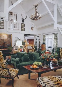 It's hard to believe that Veranda magazine is twenty five years old. For many of those years, Veranda was a Southern magazine based in . Green Velvet Sofa, Green Sofa, Living Room Decor, Living Spaces, Living Rooms, Family Rooms, English Decor, Country House Interior, Lounge