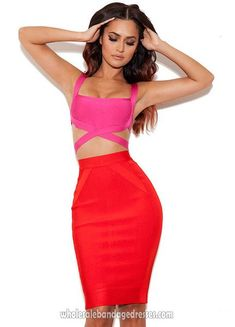 Herve Leger Two Piece bandage dress Fushia Red, best cocktail dresses from Herve Leger Wholesale China Shop