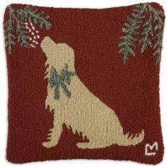 Golden Retriever Christmas Mistletoe Winter Dog Hooked Wool Pillow by Chandler 4 Corners