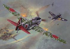 Ki-61 atacando a un SBD Dauntless, cortesía de Wrobel Jaroslaw. Más en www.elgrancapitan.org/foro