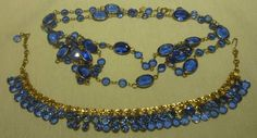 "SIGNED SCHIAPARELLI COBALT BLUE BEZEL FACET CRYSTAL 56""L NECKLACE & BRACELET"