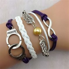 Item+Type:Package  Gender:+Female/Male  Necklace+Type:+Bracelet  Metal+Type:+Alloy,Wax+String  Colors:+White+Purple  Style:+Fashion  Shape/Pattern:+Handcuffs,Wings  Length:+18cm  Weight:+13g  Package+Contents:+1+x+Bracelet  Manual+measurement,+there+exist+a+few+errors
