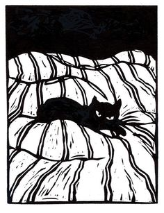 Catnap  original linoleum block print by mswest on Etsy, $25.00