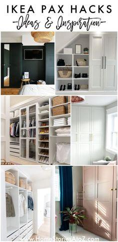 15 Amazing IKEA PAX Hacks: Ideas, Inspiration, and Installation Hacks for IKEA PAX Closet Systems #ikeapaxhack #ikeapax Ikea Closet System, Ikea Pax Closet, Ikea Pax Hack, Ikea Hacks, Clothes Storage Solutions, Build A Frame, Build A Wardrobe, Master Bedroom Closet, Ikea Furniture